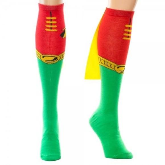 ccc23384eec Robin Knee High Socks w  Cape DC Comics Batman